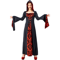 Halloween cosplay horror night carnival night black red magician robes court sorcerer vampire stage play performance clothing