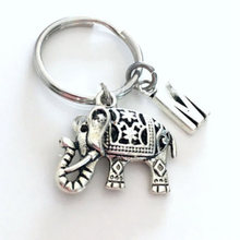 Elephant Keychain charm Initial Letter Keychain stamped monogram chain Pendant(China)