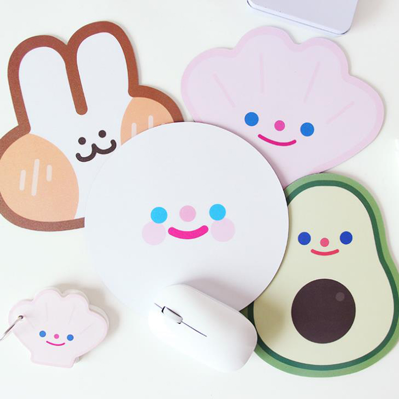 1 Pcs Cute Avocado Rabbit Shell Smile Face Irregular Rubber Computer Mouse Pads Laptop Gaming Mouse Mat Korean Stationery Holder image
