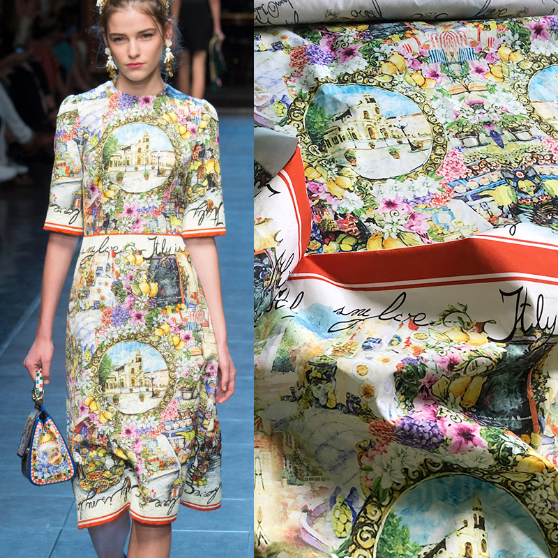 Retro castello paesaggio popeline di cotone stampato del panno del tessuto 145 centimetri di larghezza della camicia dei vestiti di tessuto jacquard per il vestito alibaba espresso