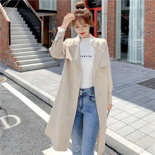 2019 autumn Korean female long casual double-breasted suit tie belt windbreaker jacket Double Breasted  Turn-down Collar