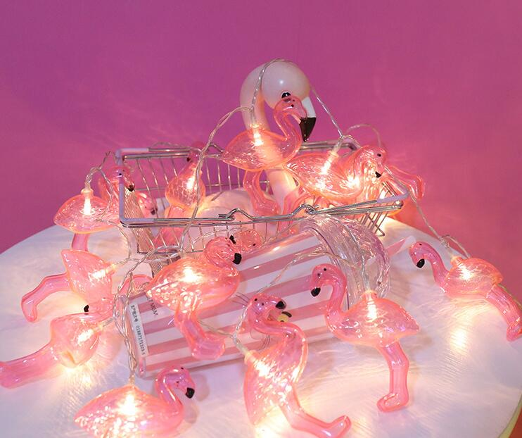 Pink Flamingo Lamp String Battery Lamp 10 LED Modeling Lamp 1m 10led
