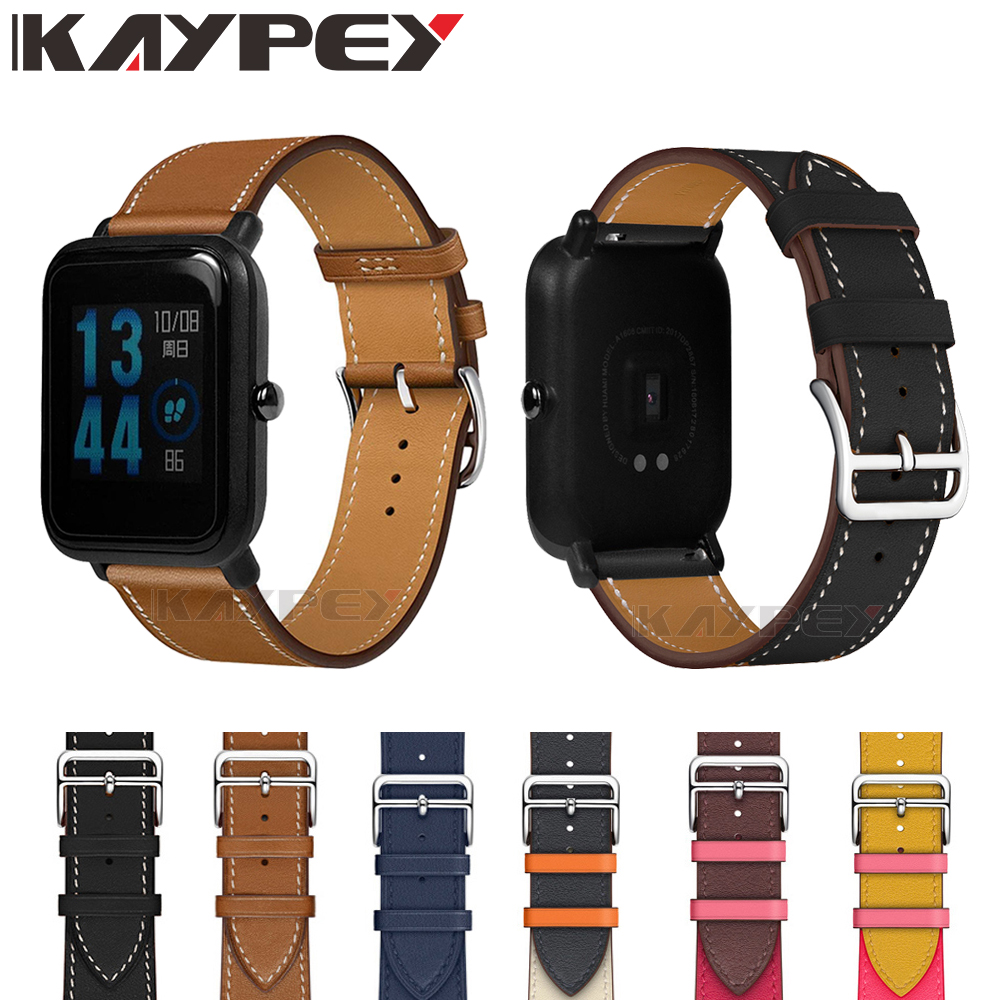 New 20mm Fashion Genuine Leather Watch Band Strap For Xiaomi Huami Amazfit Bip BIT PACE Lite Youth Replacement Wrist Band Strap