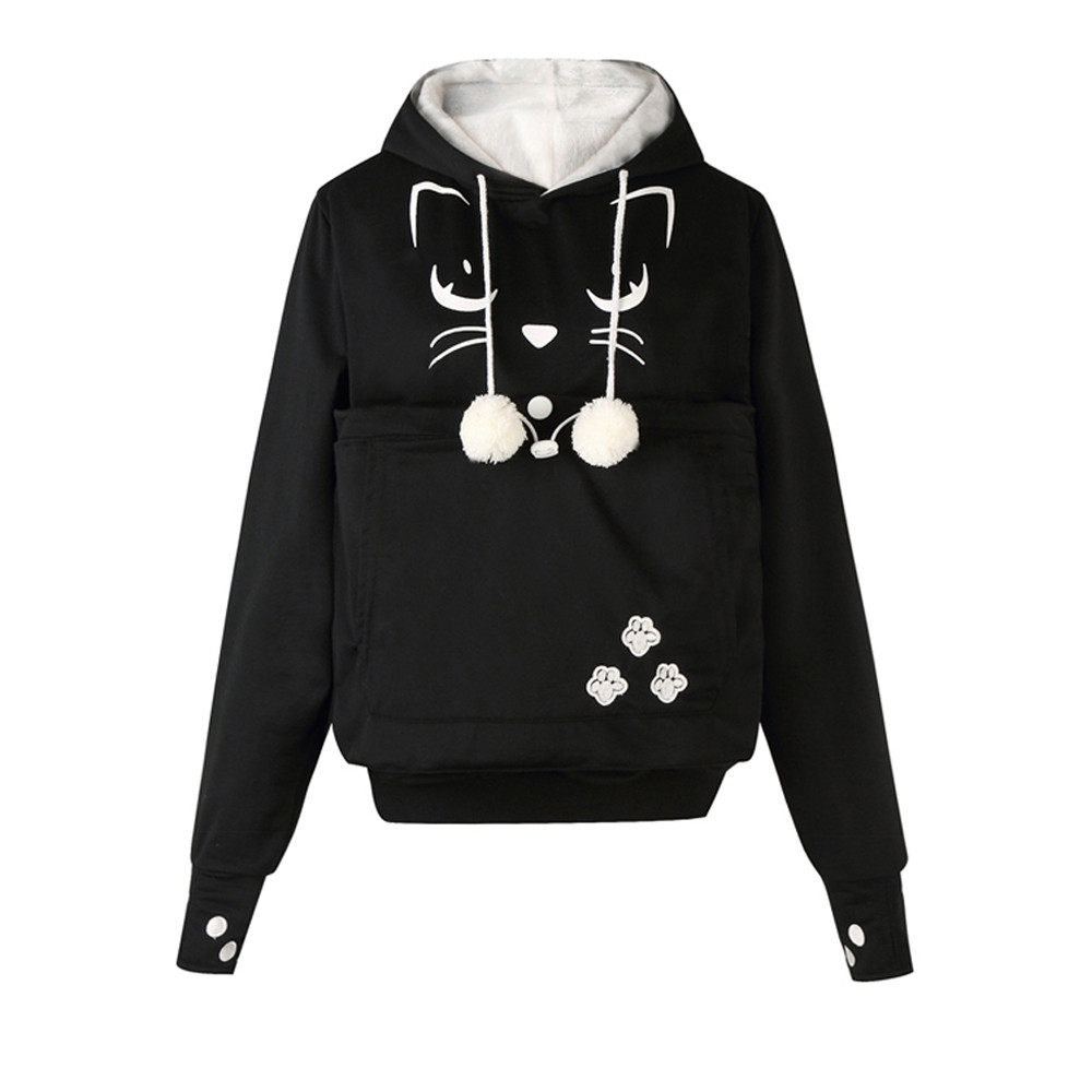 Women Sweatshirt Cat Face Printed Hoodies Plus Size Thicker Velvet Autumn Winter warm Drawstring pocket keep pet Sweatshirt 2020