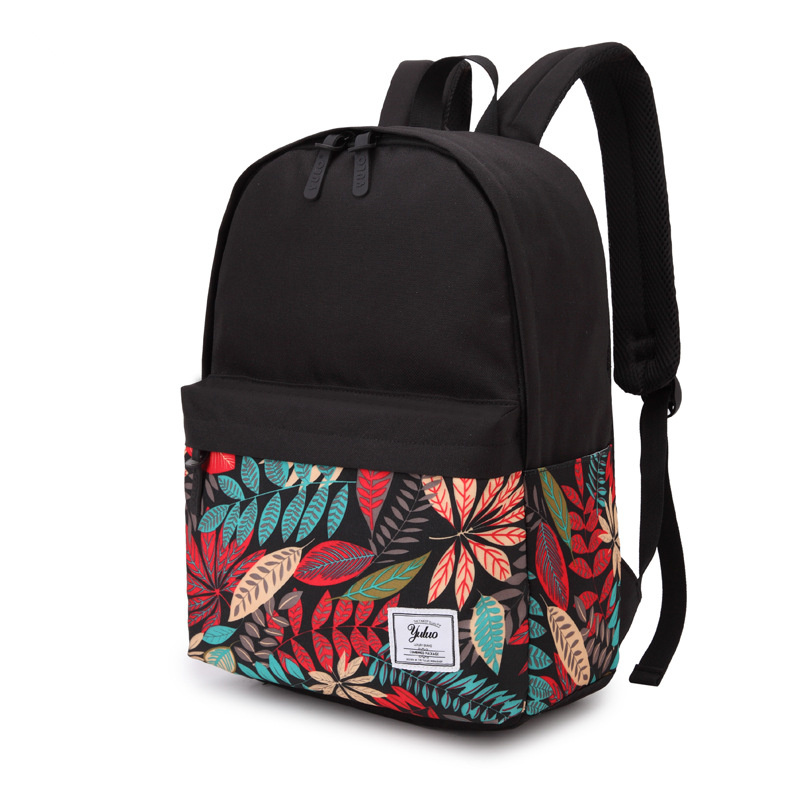 Backpack Women 2020 Campus Wind Student Bag Color Matching Print Backpack Men's Canvas Trend Backpack image