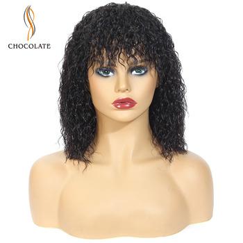 Peruki z ludzkich włosów czekoladowych Bob peruka krótkie włosy ludzkie peruka z grzywką dla czarnych kobiet Natural Color jerry curly brazylijska peruka remy tanie i dobre opinie CHOCOLATE Remy włosy Brazylijski włosy Średnia wielkość Ciemniejszy kolor tylko