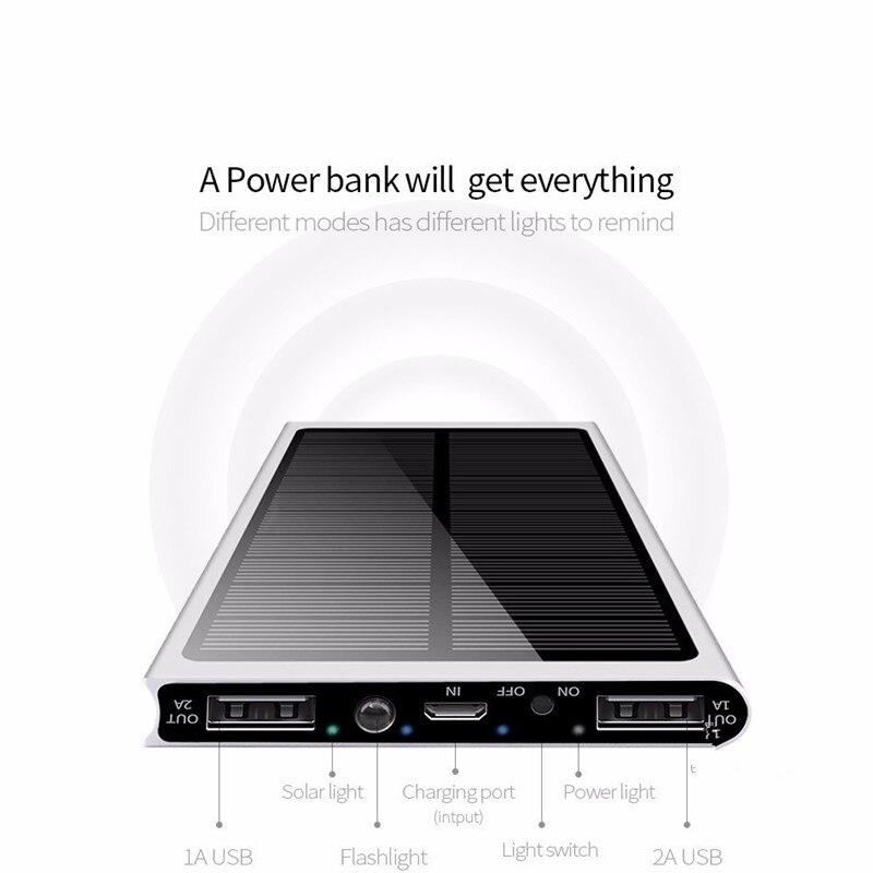 Солнечный портативный водонепроницаемый портативный внешний аккумулятор 30000 мАч для всех смартфонов батарея Внешний аккумулятор быстрая зарядка внешний аккумулятор светодиодный