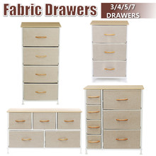 Chest of Dresser 3-7 Drawers Fabric Storage Breathable Tower MDF Board Wooden Top & Easy Pull Fabric Bins Home Bedroom Office