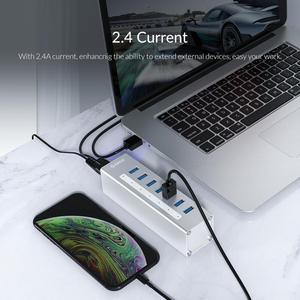 Image 4 - منفذ USB من ORICO يدعم BC1.2 شحن من الألومنيوم 4 منافذ USB3.0 فاصل مع محول طاقة 12V2A لملحقات الكمبيوتر المحمول من MacBook