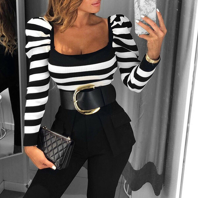 Sexy Deep Square Neck Striped Rib Knit T-Shirt Puff Sleeve Black White Slim Fit Women Long Sleeve Casual T Shirt Drop Shipping