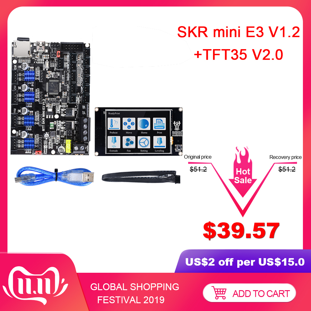BIGTREETECH SKR Mini E3 V1.2 Control Board 32Bit +TMC2209 UART+TFT35 V2.0 Touch Screen For Ender 3/5 SKR V1.3 3D Printer Parts