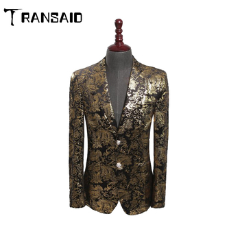 Luxury Gold Floral Pattern Velvet Blazer Double Breasted Mens Casual Suit Jacket DJ Signers Outfit Formal Wedding Groom Wear