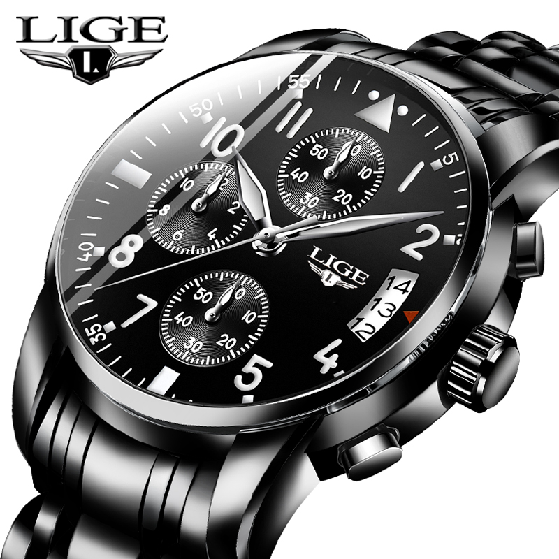 LIGE Mens Watches Top Brand Luxury Fashion Business Quartz Watch Men Sport All Steel Waterproof Black Clock Erkek Kol Saati+Box