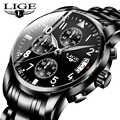 LIGE Mens Watches Top Brand Luxury Fashion Business Quartz Watch Men Sport All Steel Waterproof Black Clock erkek kol saati+Box