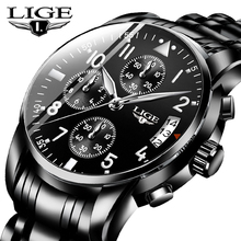 LIGE Mens Watches Top Brand Luxury Fashion Business Quartz Watch Men Sport All Steel Waterproof Black Clock erkek kol saati+Box fashion erkek saat quartz watch bayan kol saati fashion casual leather three movements mens watches top brand luxury relogio box