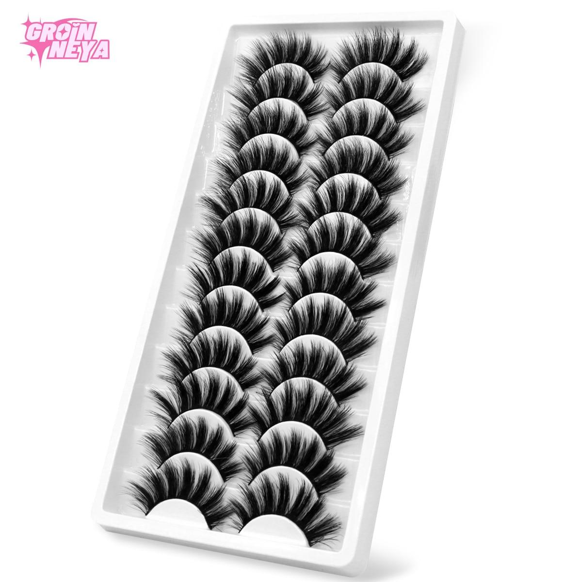 GROINNEYA 5/10/12 пар 3D норковые ресницы натуральные ресницы для макияжа драматические накладные ресницы оптом накладные ресницы для наращивания