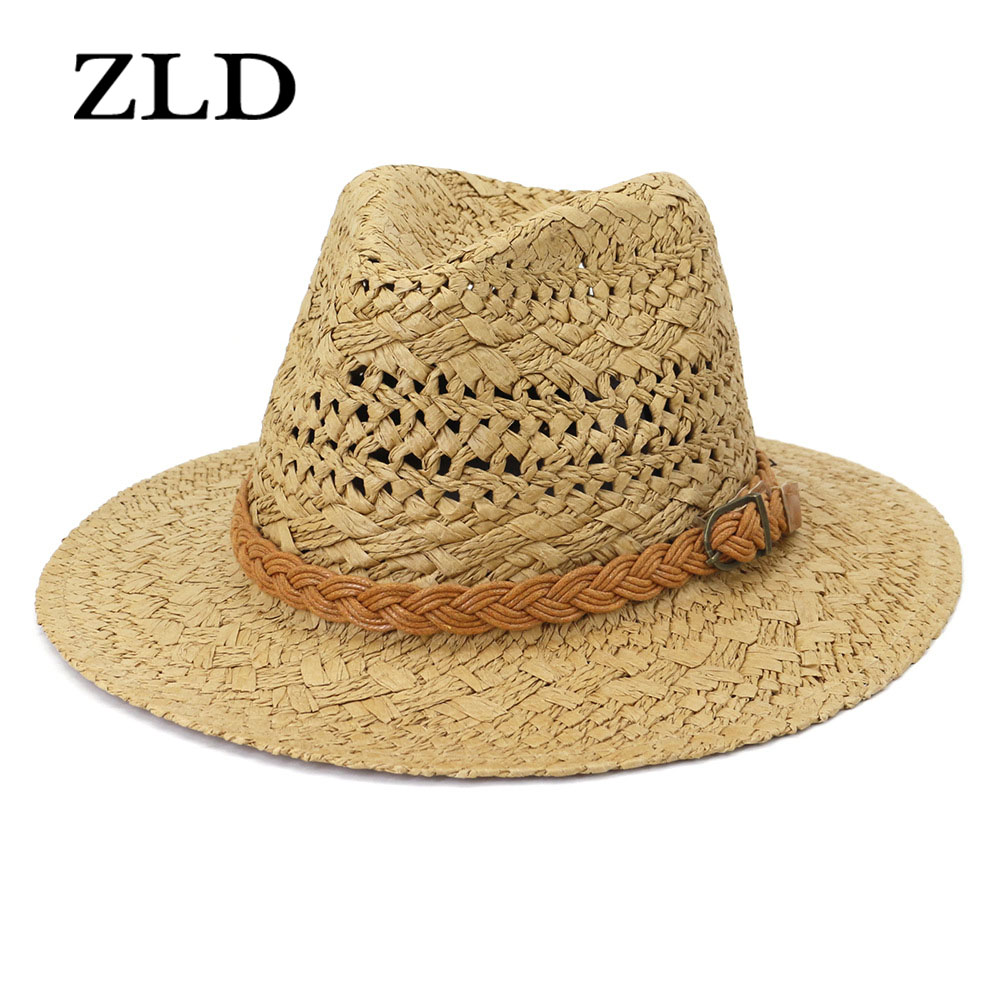 ZLD Cowgirl hat Western hats for women Cowboy hat Fashion hand-woven straw hats for men outdoor outings cap Sun protection