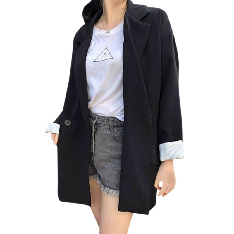 New Spring Autumn Blazer Women Fashion Single Button Solid Color  Jackets Women Casual Long Sleeves Pockets Blazer Coat Feminino