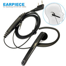 New PTT Headset Mic Ear Bar Earpiece for Baofeng UV-5r BF-888s UV-82 UV-8D GT-3 Walklie Talkie Two Way Radio 2 Pin Headphone(China)
