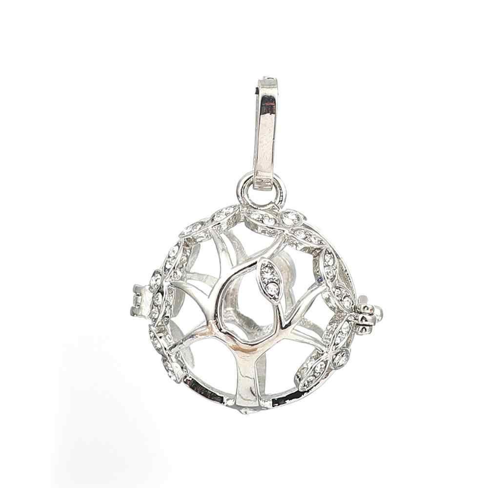 DoreenBeads Bakır Kolye Meksika Melek Arayan Harmony Topu İstek Kutusu Madalyon Ağacı Gümüş Ton Temizle Rhinestone Açabilirsiniz, 1 ADET