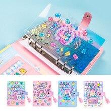 A6 바인더 Kawaii 나선형 일기 DIY 노트북 의제 2021 플래너 주최자 참고 도서 귀여운 소녀 여행자 저널 학교 핸드북