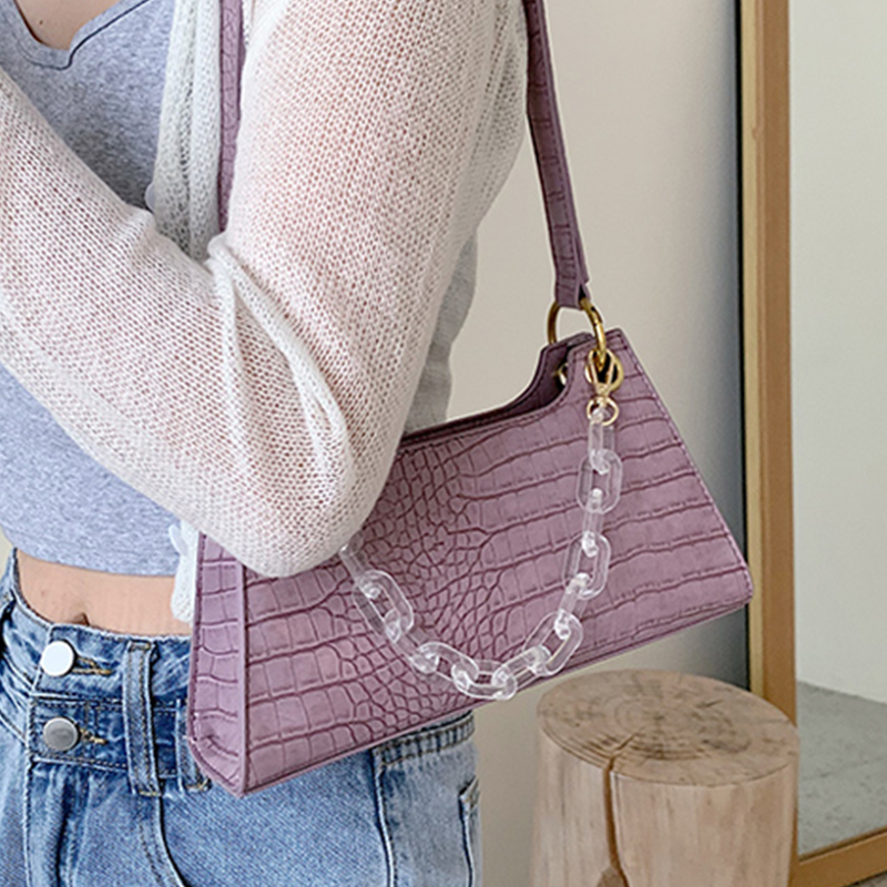 Vintage Purple Alligator Baguette Shape Bag Luxury Leather Handbag 2020 New Fashion Shoulder Bag Womens Messenger Crossbody Bags