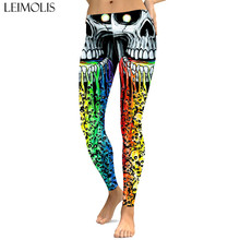 LEIMOLIS sexy gothic Rainbow Skull black print push up leggings plus size women fitness workout punk high waist spandex leggins