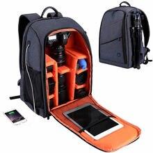 Büyük kapasiteli kamera sırt çantası su geçirmez fotoğraf çantası şarj kulaklık delik yağmur kılıfı kamera omuzdan askili çanta DSLR çanta