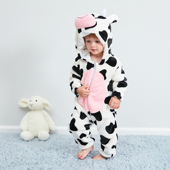 Kigurumis Baby Clothes Animal Cow Cute Onesie Romper Winter Warm Infant Baby Clothing Outfit Boys Girls Onesies Cosplay Costume baby elephant kigurumi pajamas clothing newborn infant romper animal onesie cosplay costume outfit hooded jumpsuit winter suit