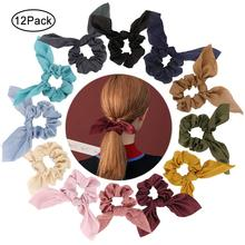 12 Pcs Scrunchies for Hair Fashion Ties Soft Silk Satin Cute Bunny Ear Ponytail Holder