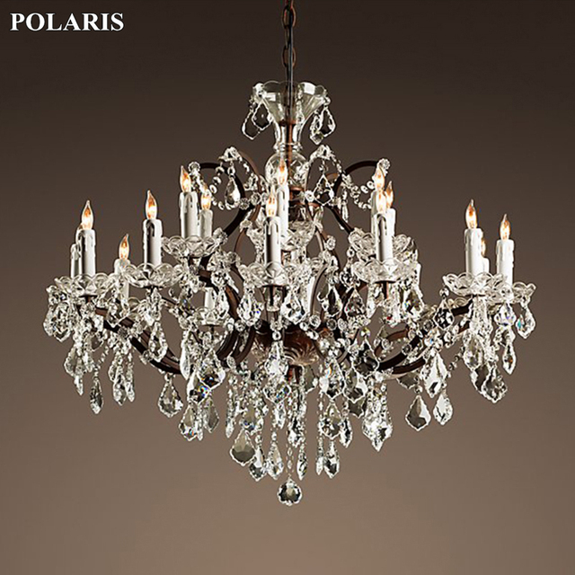 Vintage Rustic Crystal Chandelier Lighting Candle Chandeliers Pendant Lamp Hanging Light for Dining Room