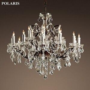 Image 1 - Vintage rustykalny żyrandol kryształowy świeca żyrandole wisiorek lampa wisząca światło do jadalni