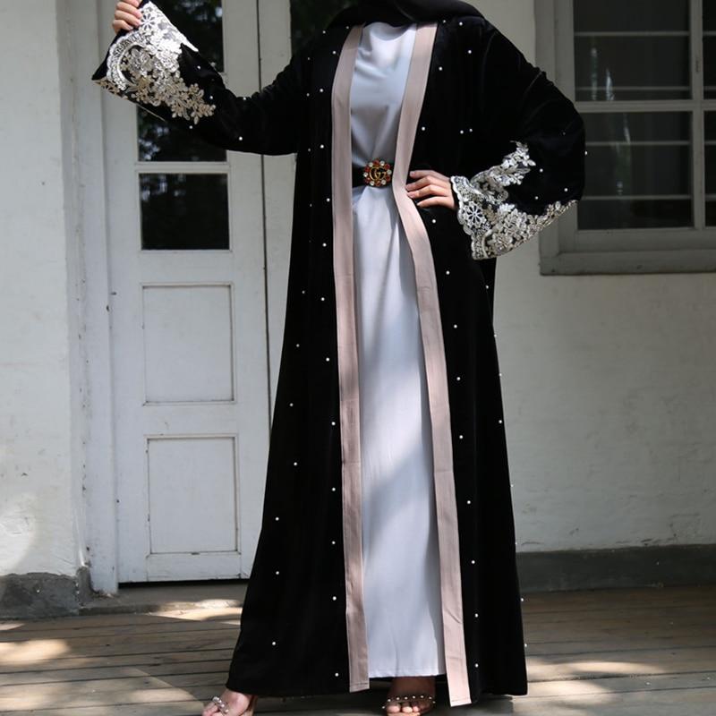 Siskakia Black Velvet Open Abaya Muslim Dubai Arabian Lace Embroidered Patchwork Beads Kimonos Middle East Islam Turkey Jubah
