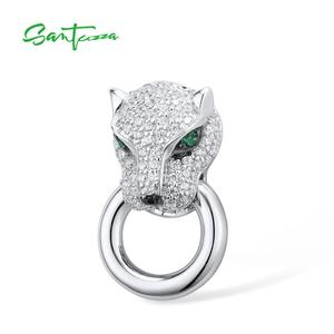Image 2 - SANTUZZA Silver Pendant For Women Pure 925 Sterling Silver Shiny White Panther Green Black Spinel Delicate Party Fine Jewelry