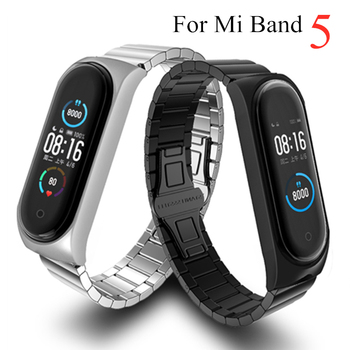 New Strap For Xiaomi Mi Band 5 Strap Metal Wristbands Fit for Mi Band5 Global Pulseira Steel Strap for Miband 5 Bracelet