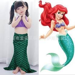 Детский купальный костюм русалки для девочек; купальный костюм принцессы с хвостом русалки; пляжный раздельный купальник для девочек