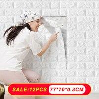 12 Uds Auto adhesivo pegatinas de pared de 3D impermeable y a prueba de aceite de ladrillo pared Panel papel mural para la sala de niños decoración de la habitación
