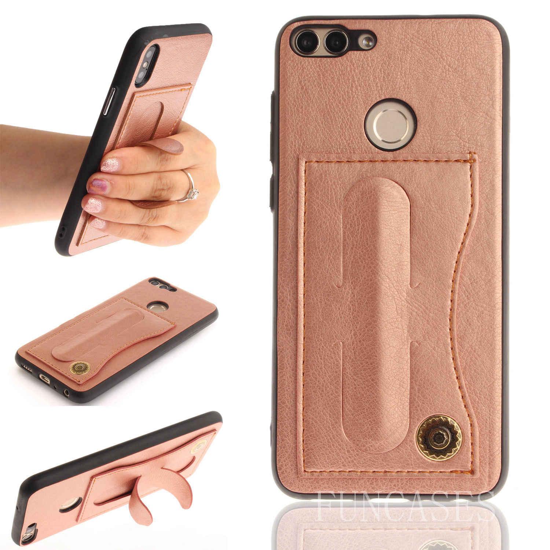 Funda de teléfono para Huawei Enjoy 7s P soporte de cinturón adhesivo inteligente puede recibir carcasa de la cubierta de la tarjeta para Huawei enjoy s 7s psmart Coque