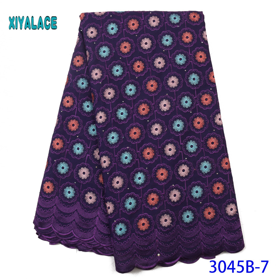 Purple French Lace Fabric 2019 High Quality African Nigerian Flower Embroidered Tulle Lace Fabric Stones For Wedding YA3045B-7