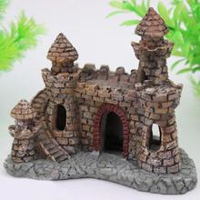 Cartoon Antique Little Castle Aquarium Fish Tank Ornaments Brick Resin Aquariums Decoration