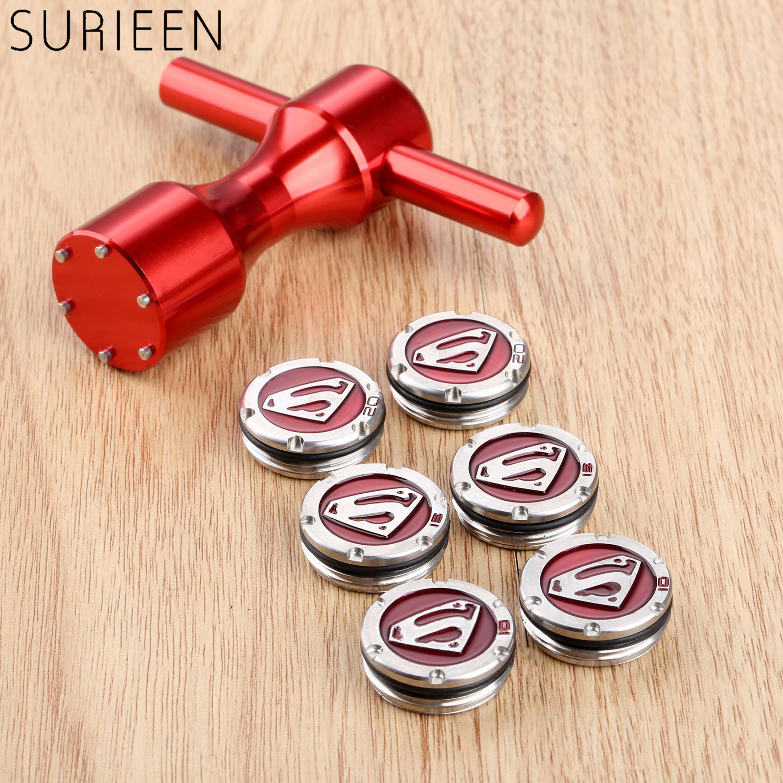 1 Pair (2Pcs) Stainless Steel For Scotty Cameron Putters Golf Weights 10g/15g/20g + 1 Pc Aluminum 6 Hole Golf Wrench Tool Red