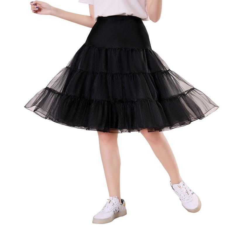 3-layer Crystal Yarn Knee-length Tulle Skirt Masquerade Princess Lolita Skirt Support Soft Slim High Waist Pettiskirt Petticoat