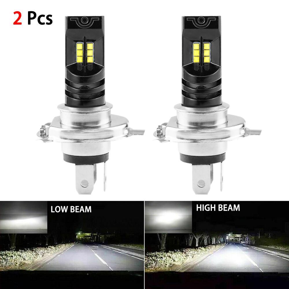 2pcs Car LED Headlight Fog Light Lamp H4 LED Bulb Conversion Kit Canbus 6000K 55W IP68 Waterproof White 12/24V