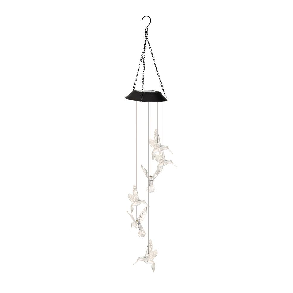 Outdoor 6LED Solar Hummingbird Wind Chime Light Waterproof Garden Home Decoration Pendant Scenery Garden Hanging Lamp