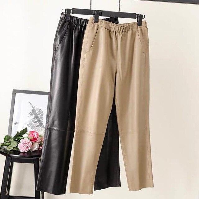 Women pants Real leather pants Women leather trousers high waist harem pants plus size 2021 new Elastic waist streetwear pants 3