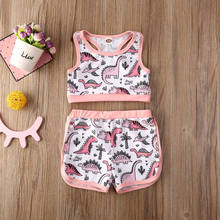 CANIS 2PCS Newborn Infant Baby Girl Outfits Clothes Set Printed Lovely Swimwear Vest +Shorts Sunsuit(China)