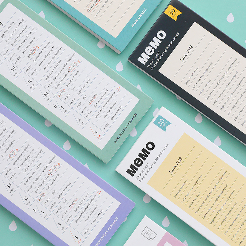 30Sheets/Set To Do List Check List Memo Pad Notepad Paper Sticky Notes Weekly Planner Writing Pads Office School Supplies