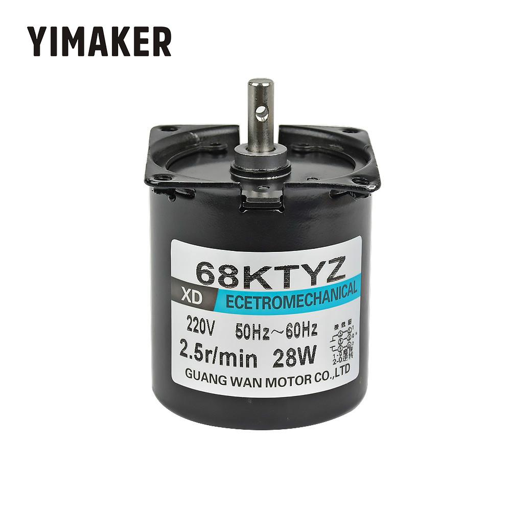 YIMAKER <font><b>68KTYZ</b></font> AC220V Synchronous Motor High Toque Permanent Magnet Gear Reduction Motors Reversible Controllable Micro Moteur image