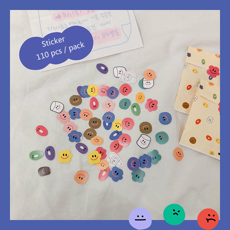 Mohamm 110Pcs/Pack Funny Smile Stationery Sealing Stickers Paper Stickers Students Office Accessorie