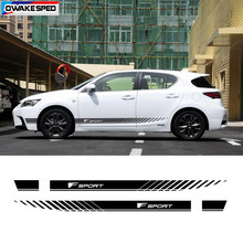 Fスポーツストライプ車のドアサイドスカートLexus-CT200Hため両側車体インテリアビニールステッカーdiy外装アクセサリー